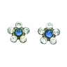 Palladium Plated Blue and White Flower Piercing Earrings Ref 146265