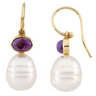 South Sea Circle Pearl and Genuine Amethyst Earrings 7 x 5mm 11mm Ref 811500