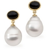 South Sea Circle Pearl and Genuine Onyx Earrings 7 x 5mm 11mm Ref 104099