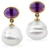 South Sea Circle Pearl and Genuine Amethyst Earrings 7 x 5mm 11mm Ref 521152