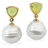 South Sea Circle Pearl and Peridot Earrings 6mm 11mm Fine Circle Ref 224230
