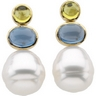 South Sea Circle Pearl, Peridot and London Blue Topaz Earrings Ref 351298