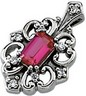 Chatham Created Ruby and Diamond Pendant 5 x 3mm .04 CTW Ref 163222