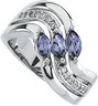 Genuine Tanzanite and Diamond Ring 6 x 3mm .17 CTW Ref 334383