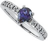 Chatham Created Alexandrite and Diamond Ring 7 x 5mm .1 CTW Ref 988673