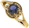 Genuine Iolite And Cultured Pearl Ring Ref 310535