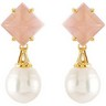 Aquarella  South Sea Cultured Pearl and Genuine Rose Quartz Earrings Ref 529118