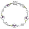 Genuine Amethyst, Peridot and Sky Blue Topaz Bracelet Ref 810602