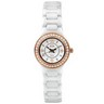 Rose Gold Immersion Plated and White Ceramic Couture  Watch with CZs Ref 878685