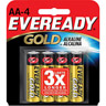 Eveready Gold Alkaline AA Batteries 4 Pack Ref 201391