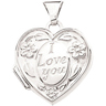 "14KY 14.75 x 15.25 mm ""I Love You"" Heart Locket 