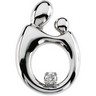 14KW Mother and Child Hollow Back Diamond Pendant 20.5 x 14mm Ref 890368