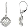 Created Moissanite and Diamond Earrings 6mm .08 CTW Ref 814814