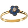 Enamel Floral Ring with Cubic Zirconia 2mm CZ Ref 855197