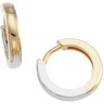 Two Tone Hinged Earrings 14mm Ref 560484