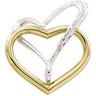 Two Tone Double Heart Chain Slide | 20.75 x 20 mm | SKU: 22303