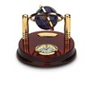 2 inch Lapis Globe on Brass Stand with Clock and Engravable Plate Ref 737528