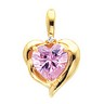 Heart Shaped Pink CZ and Diamond Pendant 8 x 8mm .01 CTW Ref 553909