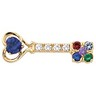 Mothers Key  Brooch with Heart and Round Cut Gemstones Ref 839331
