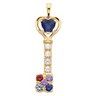 Mothers Key  Pendant with Heart and Round Cut Gemstones Ref 146035