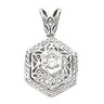 Hexagon Filigree Pendant with 16 inch Matching Chain | 1/10 carat TW | SKU: 82302